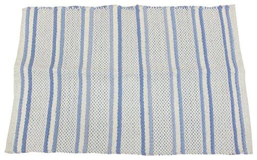 萩原 インド綿マット スクリーム ブルー 約45×120cm 1枚