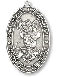 Saint MichaelピューターMedal |オーバル1インチon 24インチステンレススチールチェーン