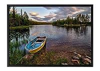 ボートでクリアレイク 風景の写真 黒の木製フレーム装飾画 アートキャンバス印刷ポスター(35cmx50cmx3.5cm)