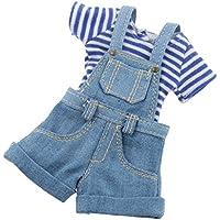 Fenteer 12インチ 1/6 ブライスドール 人形用 ジャンプスーツ Tシャツ 衣装アクセサリー 全2色 - ブルー