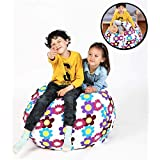 """Bean Bag Chair for Stuffed Animal Storage, Easy Solution for Extra Toys, Blankets, Towels, Clothes, Premium Seat for Kids - 38"""" Flower"""