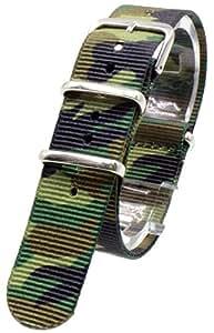 [2PiS] ( 迷彩 : 20mm ) NATO 腕時計ベルト ナイロン 替えバンド ストラップ 交換マニュアル付 37-1-20