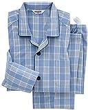 (グンゼ)GUNZE 紳士パジャマ(大きめ釦 斜め釦ホール)長袖長パンツ(スムース) SG2236 59 ブルー L
