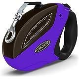 LinGear Direct ペット用 犬・猫用伸縮リード 散歩ひも ロック掛かり ブレーキ/ロックシステム 安全性 持ち歩きやすい ロープ長さMax.5メートル 荷重Max.50KG 紫