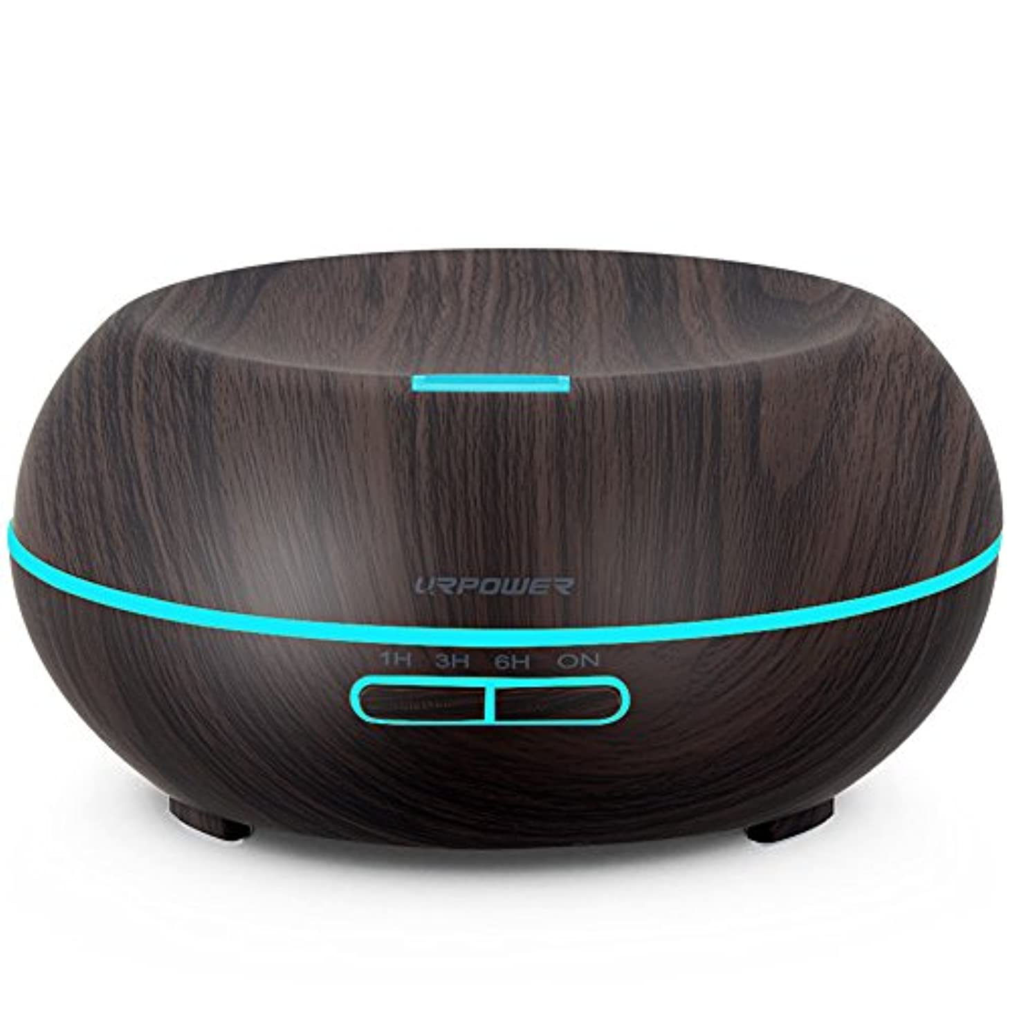 URPOWER Essential Oil Diffuser、200 ml木目アロマテラピーディフューザー超音波クールモードで調節可能なミストアロマ加湿器、Waterless自動遮断、7色LEDライト& 4タイマー設定