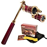 HQRP Opera Glasses /双眼鏡W /クリスタルクリアOptic ( CCO ) 3 x 25 in Burgundy color with goldenトリム、内蔵拡張可能ハンドルと赤の読書ライト