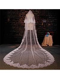 シュウクラブ- 韓国のレースレースソフトネットワークビッグテールタトゥー糸長いパラグラフ3メートルの花嫁ウェディング結婚式のベール