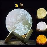 インテリア3Dプリント月のランプ, 3色切替 USB充電LED ライト 月,振動スイッチを月 ランプ 明るさナイトライト子供 ライト寝室ライト誕生日プレゼント(直経15cm)
