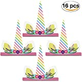 (Colorful Flowers) - 16 Pieces Unicorn Party Hats by Enfy - Lovely Horn Props for Kids Birthday Party, Baby Shower, Kindergarten Class Parties - Must Have for Unicorn Lovers, 16 Pieces One Size Fits All (Colourful Flowers)