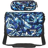 "Bonne Messenger Bag with Pencil Case Bargain Value Set, Laptop Messenger Bag for Men Women Boys Girls - 15.6"" Laptop Section - Iceberg Design"