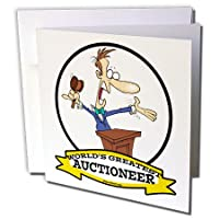 Dooni Designs Worlds Greatest漫画 – Funny Worlds Greatest Auctioneer OccupationジョブCartoon – グリーティングカード Set of 12 Greeting Cards