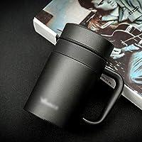 YY2 ステンレススチールウォーターボトル、真空断熱リークプルーフボトル(ハンドル付き) - 420ml (Color : ブラック)