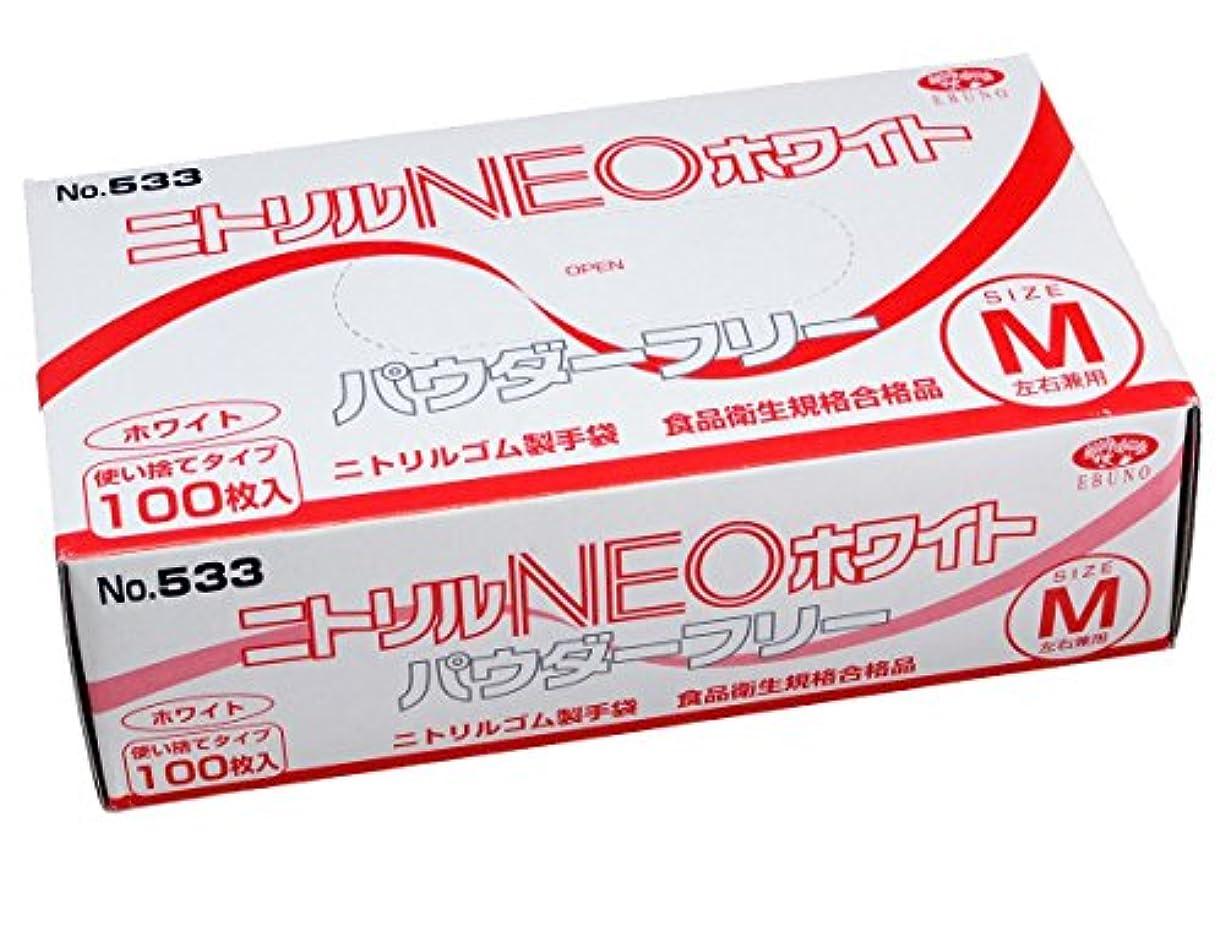 メディア戦艦平手打ち使い捨て手袋 ニトリル NEO ホワイト パウダーフリー 手袋 M