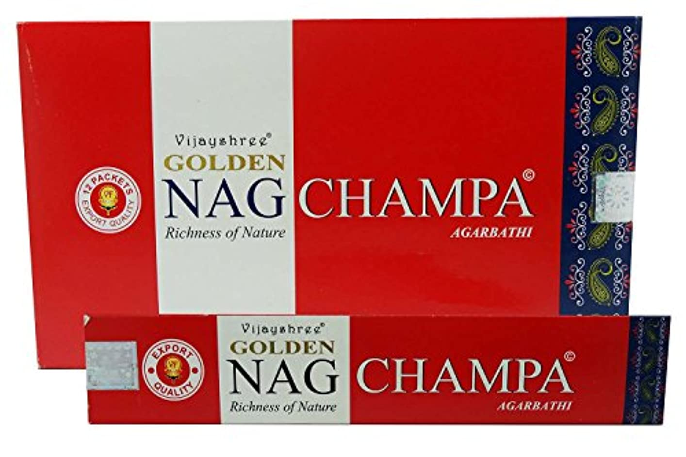 シリンダー抵抗する債務Agarbathi Vijayshree Golden Nag Champa Incense Sticks 15 g x 12