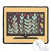 緑褐色の花の植物塗料 マウスパッド・ノンスリップゴムパッドのゲーム事務所