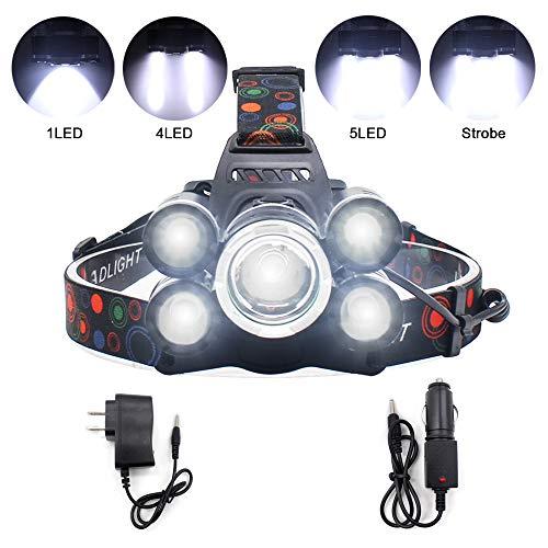 LEDヘッドライト 充電式 ヘッドランプ 超高輝度 5000ルーメン 4点灯モード 1*CREE XM-L T6+4*XPE 防水 90°回転 夜釣り 作業 アウトドア用LEDライト 18650バッテリー付属 USBケーブル付き