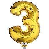 (ラボーグ) La vogue アルミバルーン 風船 16インチ 40cm 0-9数字自由選択 イベント 二次会 パーティー 結婚式用品 装飾 飾り ゴールド 1枚入れ 金色数字 (3)