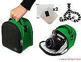 ナイロンSLRバッグ???グリーンfor Panasonic Lumix DMC - g3、g5、g6、DMC - gf3、- gf5、dmc-gf6、DMC - gh3、- gh4?gx1デジタル一眼レフカメラ+スクリーンプロテクター+スクリーンプロテク