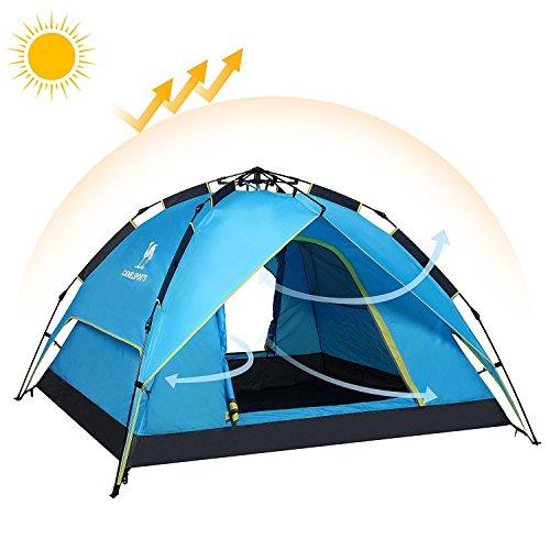 Camel 3-4人用テント[キャメル]ワンタッチテントローププル型フルクローズドームテント折りたたみキャンプのテントの簡単な撥水性、通気性防雨防風UVカット 4人 ブルー