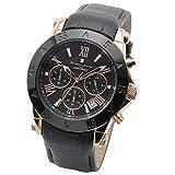 [サルバトーレマーラ] クロノグラフ 腕時計 メンズ 時計 レザー ベルト 10気圧防水 クォーツ 流通限定 S-PGBK