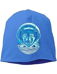 【Dera Princess】 男女兼用 ニット帽 Wolf Jamming To Music Under Full Moonロゴ コットン ニットキャップ 帽子 オールシーズン 被れる