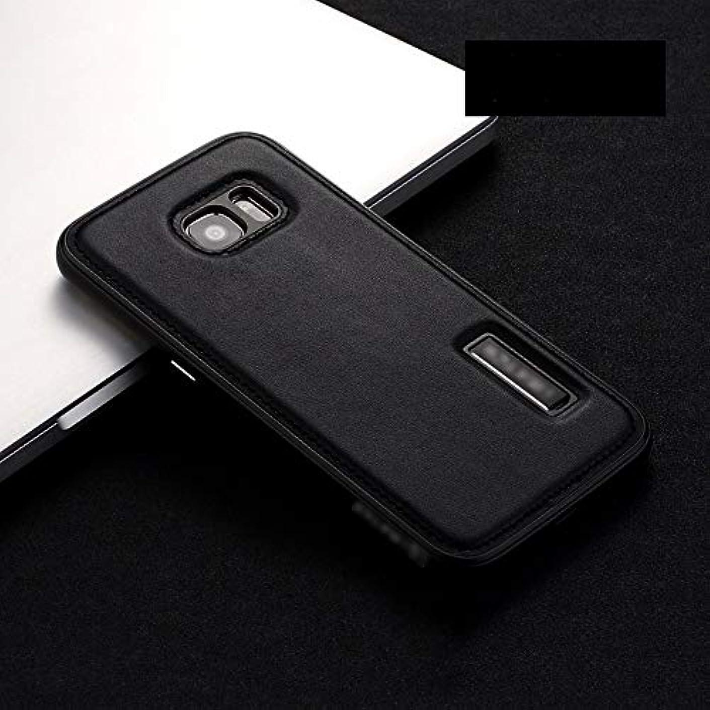 啓示追加する発明Tonglilili 携帯電話ケース、サムスンS6エッジ、S6、S7エッジ、S7、注5、注8、S8、S8プラス用新しいレザーケースメタル落下防止ブラケットプロテクター電話ケース (Color : 黒, Edition : S6)