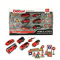Bocks Fire Rescue Car 18pcs 1:64 Alloy Diecast Vehicle Diecast Free Wheeling Fire Truck Toy Emergency Vehicles Models Collection Kids Toy Fire Truck Helicopter Jeep Ambulance Car 【You&Me】 [並行輸入品]