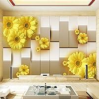 Wuyyii カスタム壁画壁紙3Dステレオ黄色菊の花リビングルームテレビの背景壁の寝室の写真壁画フレスコ画壁紙-200X140Cm