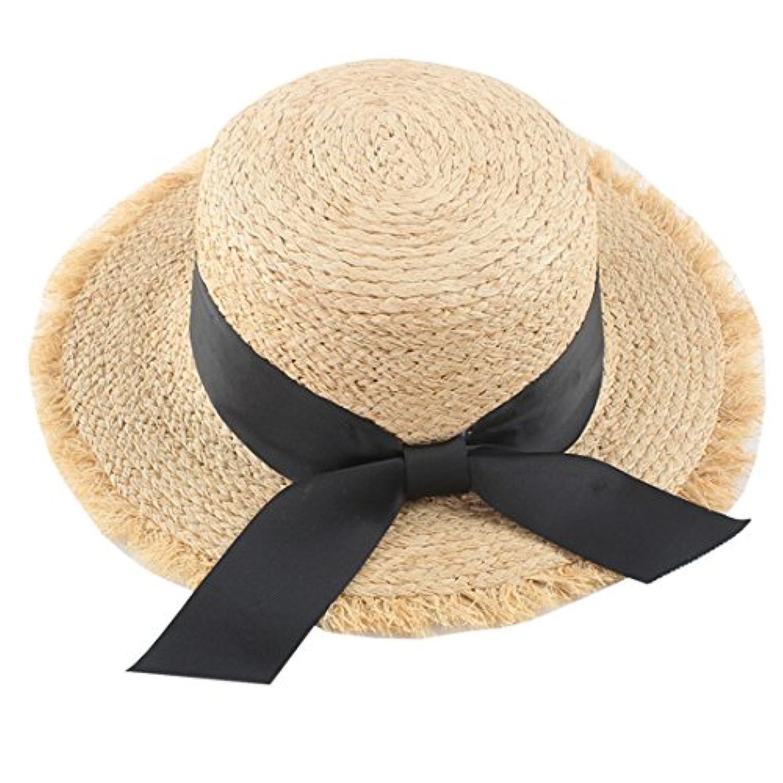 YueLian 夏 麦わら帽子 カンカン帽 蝶結び レディース ペーパーハット 太陽帽 日除け 帽子 女性 エレガント ビーチ つば広 UVカット アウトドア帽子