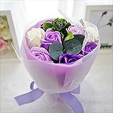 BIO ミディローズブーケ フレグランスソープフラワー ローズ9輪 定番商品 クリアバック・ギフトボックス お祝い 記念日 お見舞い バレンタインデー ホワイトデー 母の日 (パープル) バイオテクノロジーズ BIO7