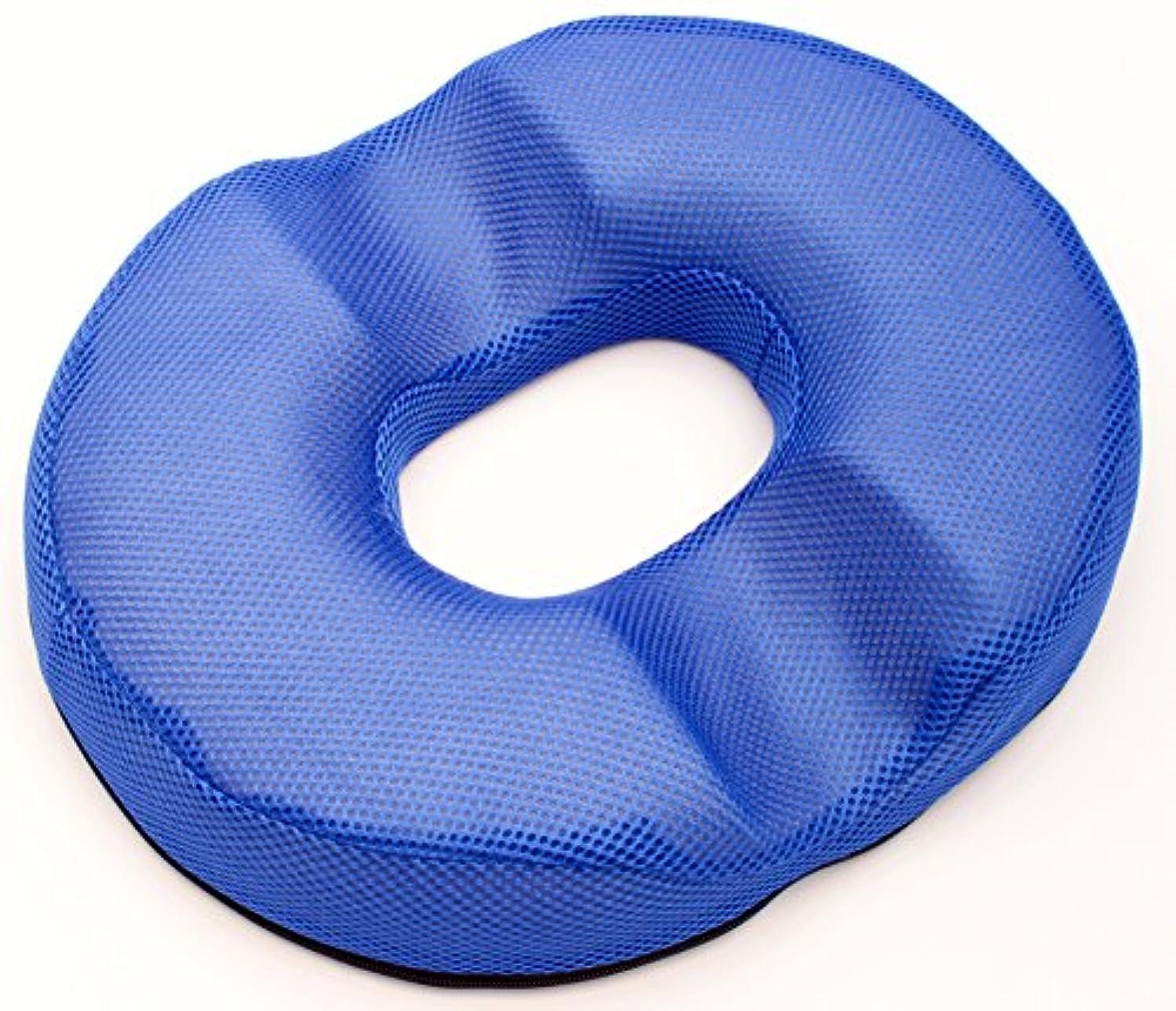 パイント委員会白い円座 ちょっと硬め ドーナツ型 クッション メッシュ?スウェード (ブルー(ダブル溝))