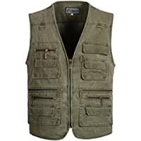 Outdoor Waistcoats for Mens Utility Gilet Polyester Multi-Pocket Vest for Fishing Hunting Safari Camping Traveling Photography Vest