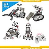4 in 1 Kids Remote Control Construction Robot Vehicle Building Kit Educational Building Blocks STEM Robot Kit Building- Space Exploration