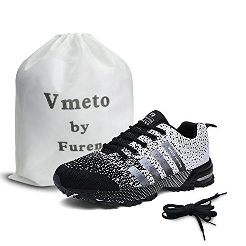 Vmeto ランニングシューズ メンズ レディース 軽量 通気 スポーツシューズ ウォーキング スニーカー (28.0cm, ブラック)