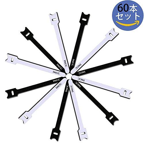 【60本セット】 iXCC 結束バンド 強力マジック テープ 面ファスナーストラップ マジックバンド 収納バンド ベルクロ テープ ケーブル/コード/配線等収納 カーテンを缚る 繰り返し利用可能【15cm*60本、2色】
