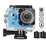 WIMIUS 4K スポーツカメラ Wi-Fi搭載 防水 ウェアラブルカメラ 防犯カメラ ドライブレコーダー 自転車カメラ 多機能ビデオカメラ (ブルー)