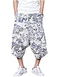 FOMANSH サルエルパンツ メンズ ワイドパンツ ガウチョパンツ 花柄 7分丈パンツ ハーフパンツ ゆったり ショートパンツ 夏 春秋 大きいサイズ S-4XL