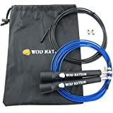(Black) - WOD Nation Speed Jump Rope - Blazing Fast Rope for Endurance training for Boxing, MMA, Martial Arts or Just Staying Fit + FREE Video Training Included - Fully Adjustable to Fit Men, Women and Children