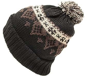 (エクサス)EXAS ノルディック柄ボン付きニット帽(ニット帽子 ワッチ) ブラックブラウン