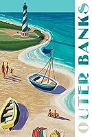 アウターバンク、ノースカロライナ州 - ビンテージビーチシーン 24 x 36 Signed Art Print LANT-85624-710