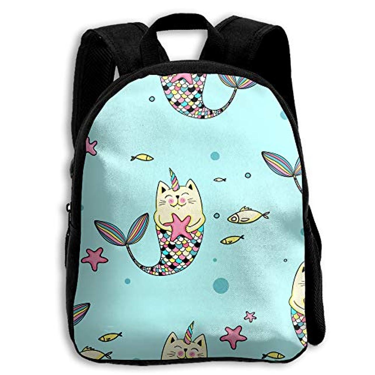 シチリア海洋の破壊キッズ リュックサック バックパック キッズバッグ 子供用のバッグ キッズリュック 学生 猫 マーメイド アウトドア 通学 ハイキング 遠足