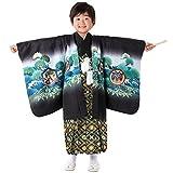 (キョウエツ) KYOETSU 七五三 5歳 着物 男の子 羽織袴 フルセット (鷹宝-黒(袴 黒))