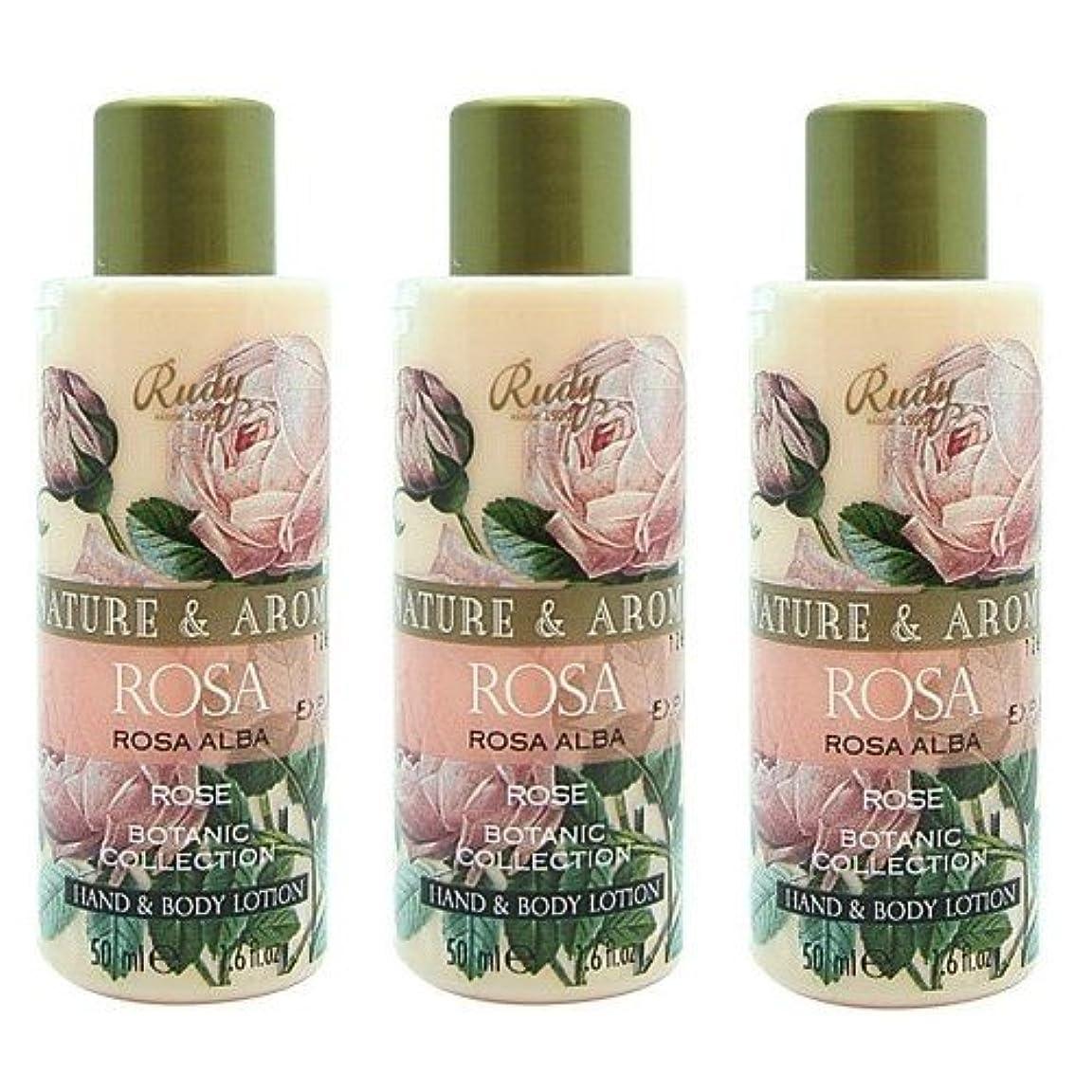 服代表して後者(3個セット)RUDY Nature&Arome SERIES ルディ ナチュール&アロマ Mini Body lotion ミニボディローション ローズ