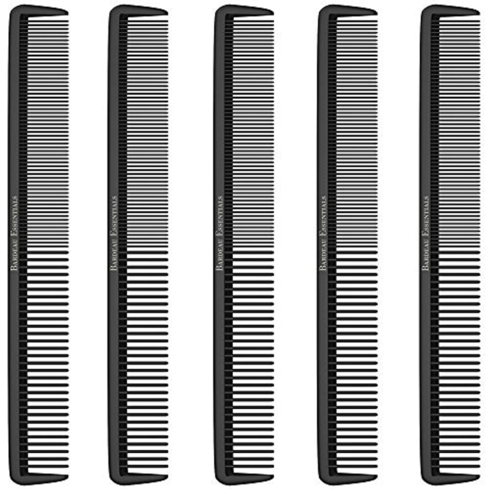 抑制エンドウインデックスStyling Comb (5 Pack) - Professional 8.75  Black Carbon Fiber Anti Static Chemical And Heat Resistant Hair Combs...