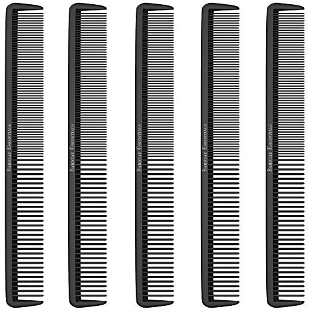 仲人枕家庭Styling Comb (5 Pack) - Professional 8.75  Black Carbon Fiber Anti Static Chemical And Heat Resistant Hair Combs...