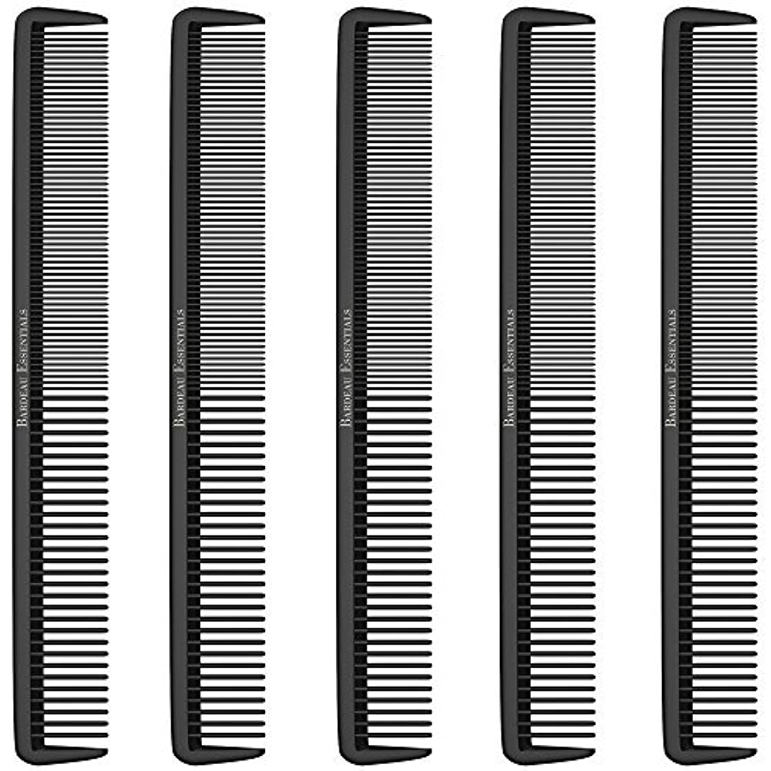 コンチネンタル形大胆Styling Comb (5 Pack) - Professional 8.75  Black Carbon Fiber Anti Static Chemical And Heat Resistant Hair Combs...
