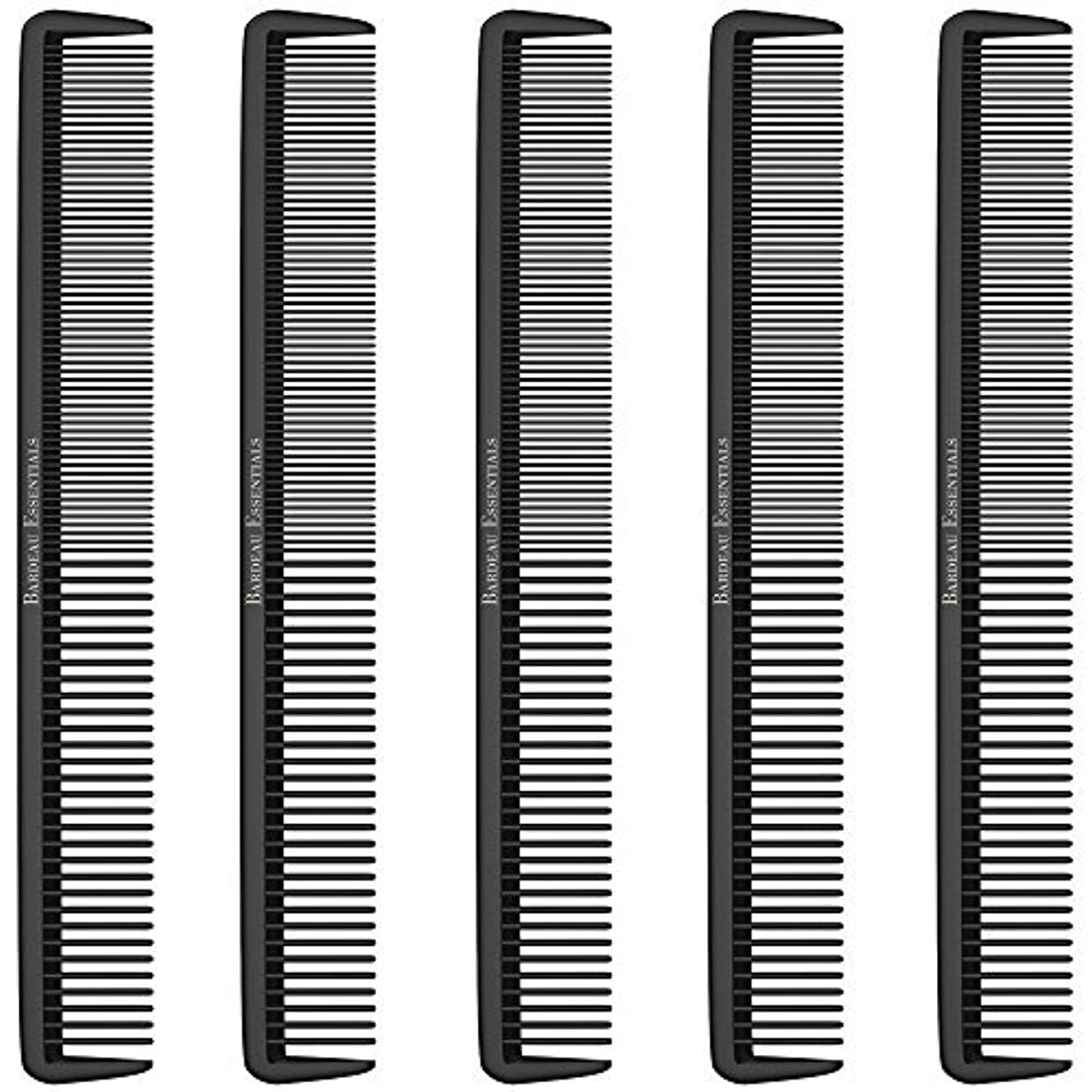 Styling Comb (5 Pack) - Professional 8.75  Black Carbon Fiber Anti Static Chemical And Heat Resistant Hair Combs...