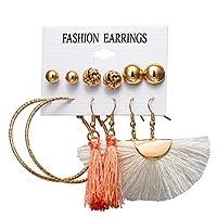 イヤリング、 ロングタッセルフリンジスタッドスタイルのイヤリングセットボヘミアンビーチブラブラドロップ女の子10代の女性のためのイヤリング、3ペア1 (色 : B11-02-05)