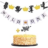 Gold and Black Where the Wild Things Are Inspired Party Banner Wild One First Birthday Decorations with Cake Toppers for 1st Birthday Party Table/Backdrop/ Photo Prop Decorations