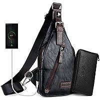 Alena Culian Sling Bag Men Leather Chest Bag Crossbody Shoulder Bag for Men